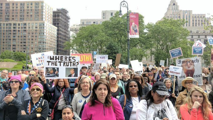 Hundreds of demonstrators in New York City took to the streets Saturday to protest President Donald Trump's ties with Russia. (March For Truth)