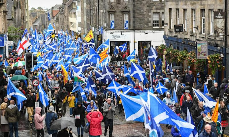 A Scottish independence march in Edinburgh on 5 October.