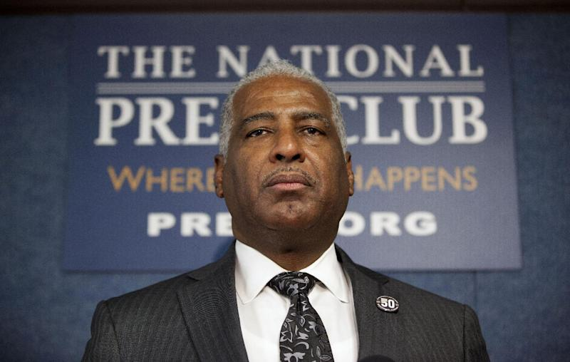 Birmingham, Ala. Mayor William Bell pauses during a news conference at the National Press Club in Washington, Tuesday, Jan. 22, 2013, to announce plans to ask for the Congressional Gold Medal for the four little girls killed in the 1963 bombing at the 16th Street Church in Birmingham, Ala. (AP Photo/ Evan Vucci)