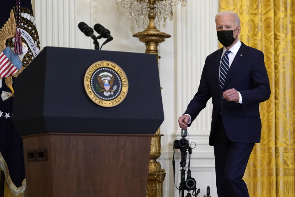President Joe Biden arrives for his first news conference in the East Room of the White House, Thursday, March 25, 2021, in Washington. (AP Photo/Evan Vucci)