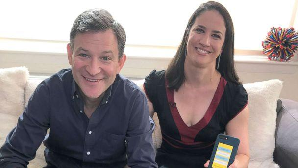 PHOTO: 'How to Break Up With Your Phone' author Catherine Price poses with ABC News anchor Dan Harris. (ABC News)