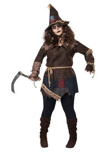 """<p><strong>Halloween Costumes</strong></p><p>halloweencostumes.com</p><p><strong>$49.99</strong></p><p><a href=""""https://go.redirectingat.com?id=74968X1596630&url=https%3A%2F%2Fwww.halloweencostumes.com%2Fwomens-plus-size-creepy-scarecrow-costume.html&sref=https%3A%2F%2Fwww.goodhousekeeping.com%2Fholidays%2Fhalloween-ideas%2Fg4564%2Fscary-halloween-costumes%2F"""" rel=""""nofollow noopener"""" target=""""_blank"""" data-ylk=""""slk:Shop Now"""" class=""""link rapid-noclick-resp"""">Shop Now</a></p><p>You'll scare away more than just the crows, that's for sure! The outfit comes with the tunic, straw collar, rope belt, hat and scythe, so you have everything you need to go make some nightmares.</p>"""