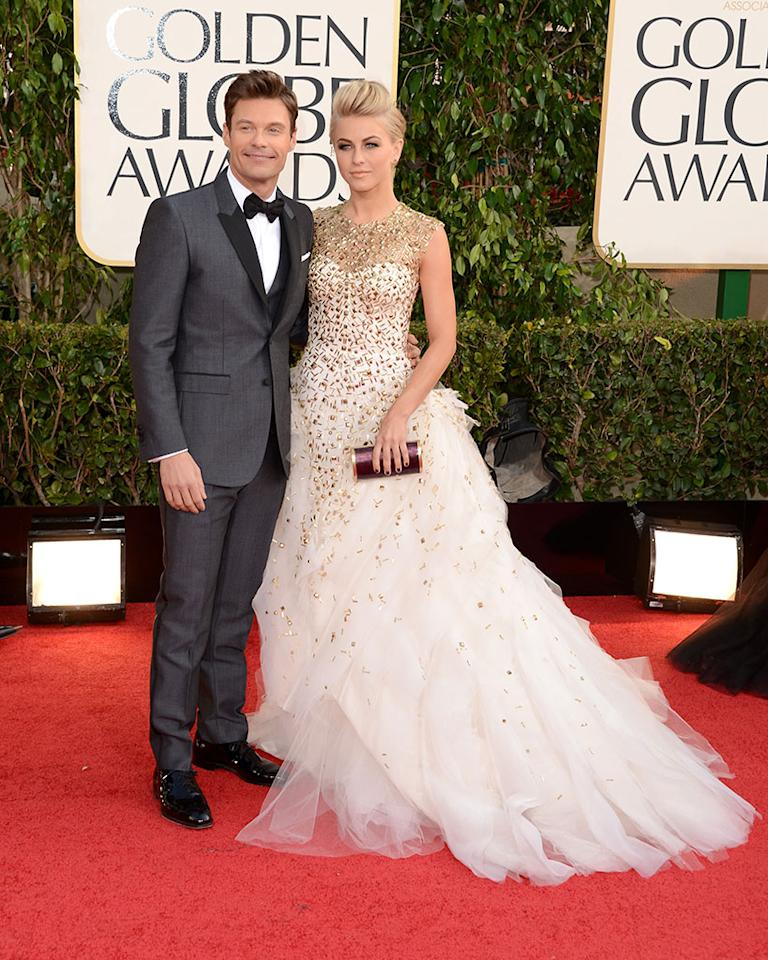 Ryan Seacrest and Julianne Hough arrive at the 70th Annual Golden Globe Awards at the Beverly Hilton in Beverly Hills, CA on January 13, 2013.