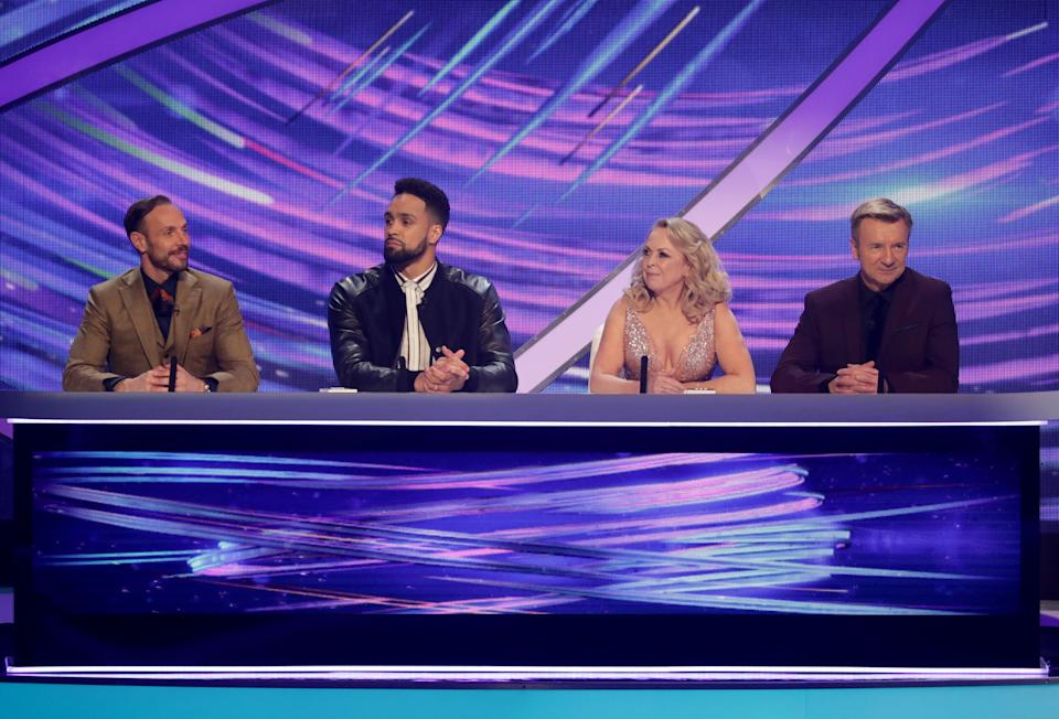 Jason with Dancing On Ice judges Ashley Banjo, Jayne Torvill and Christopher Dean (Photo: Shutterstock/ITV)