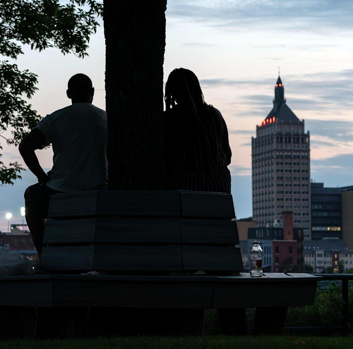 A view over the city of Rochester, N.Y., from High Falls Terrace Park on Aug. 20, 2021. (Todd Heisler/The New York Times)