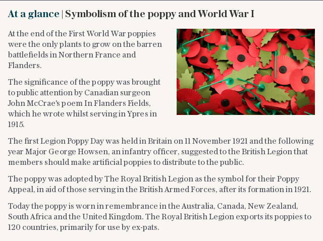 At a glance   Symbolism of the poppy and World War I