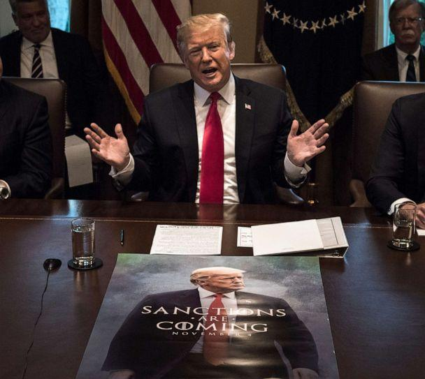 PHOTO: President Donald Trump leads a meeting of his Cabinet with a poster featuring him spread out on the conference table on Jan. 02, 2019, in Washington. (The Washington Post via Getty Images, FILE)