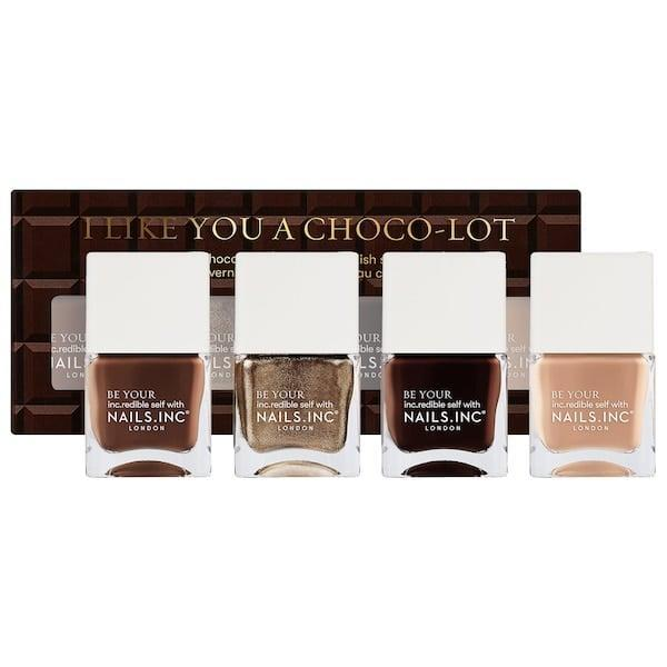 <p>This cocoa-scented <span>Nails Inc. I Like You a Choco-Lot Nail Polish Quad Set</span> ($22) is perfect for chocolate lovers who <em>also</em> love rich brown manicures.</p>