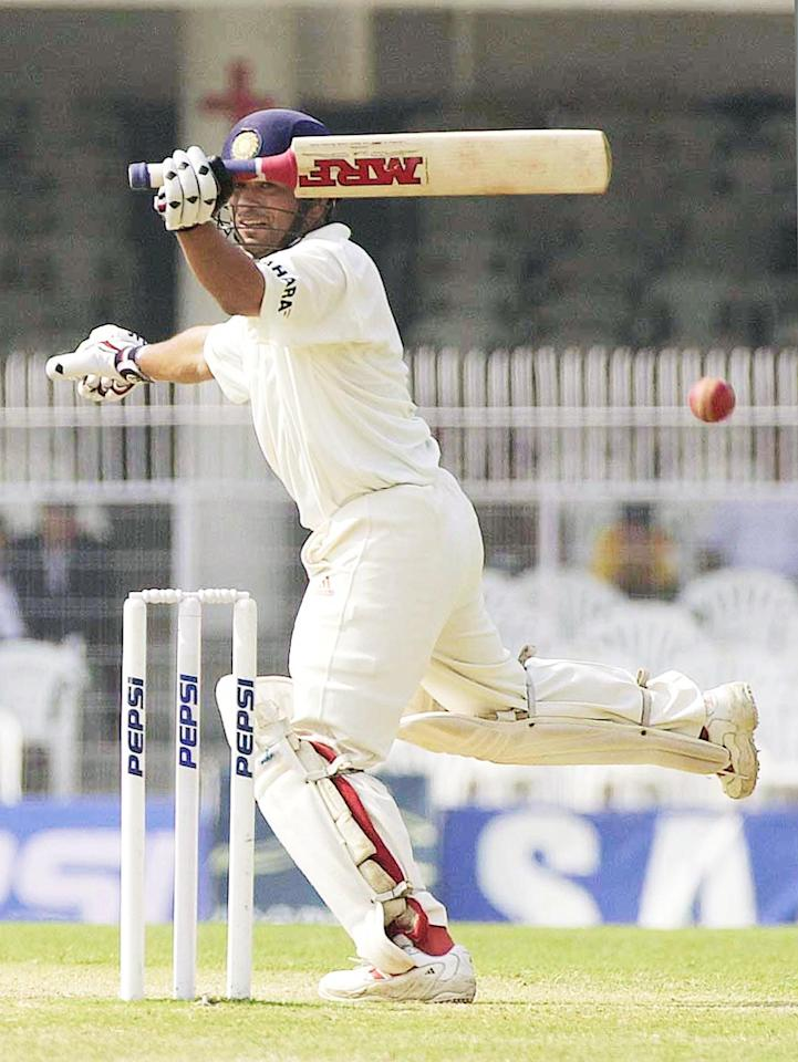 India's star batsman Sachin Tendulkar makes his run after hitting a ball in the fourth day of the first Test match between India and Zimbabwe at Vidarbha Cricket Association Stadium in Nagpur 24 February 2002. Tendulkar reached his 150 with a flicked boundary off seamer Heath Streak. India posted 570-7 declared in reply to Zimbabwe's 287.  AFP PHOTO/RAVEENDRAN