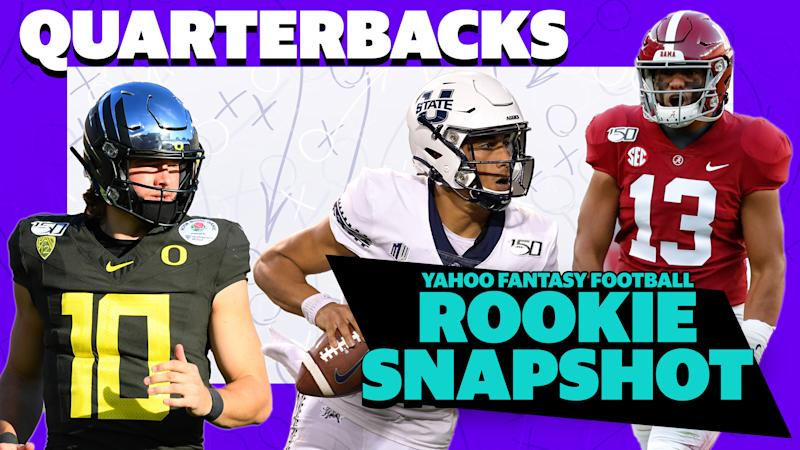 Justin Herbert (Oregon), Jordan Love (Utah) and Tua Tagovailoa (Alabama) are three rookies with round one pedigrees that fantasy owners may, or may not want to take a gamble on in 2020. (Getty Images/Yahoo Sports)