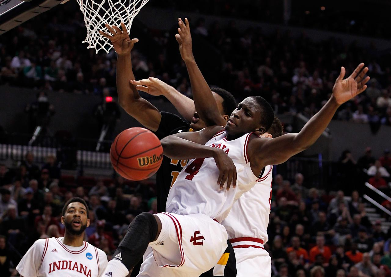 PORTLAND, OR - MARCH 17:  Victor Oladipo #4 of the Indiana Hoosiers blocks Rob Brandenberg #11 of the Virginia Commonwealth Rams in the second half during the third round of the 2012 NCAA Men's Basketball Tournament at the Rose Garden Arena on March 17, 2012 in Portland, Oregon.  (Photo by Jonathan Ferrey/Getty Images)