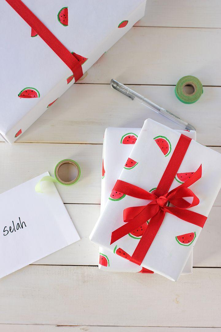 """<p>If you have a box of markers or crayons on hand, the possibilities for customization are endless. And if you need a little help with the artistry? Lean on stencils. </p><p>Get the tutorial at <a href=""""https://www.aliceandlois.com/diy-watermelon-wrapping-paper/"""" rel=""""nofollow noopener"""" target=""""_blank"""" data-ylk=""""slk:Alice and Lois"""" class=""""link rapid-noclick-resp"""">Alice and Lois</a>.</p><p><a class=""""link rapid-noclick-resp"""" href=""""https://www.amazon.com/Crayola-Ultra-Clean-Washable-Non-Toxic-Classrooms/dp/B013RQPB5C?tag=syn-yahoo-20&ascsubtag=%5Bartid%7C10072.g.34015639%5Bsrc%7Cyahoo-us"""" rel=""""nofollow noopener"""" target=""""_blank"""" data-ylk=""""slk:SHOP MARKERS"""">SHOP MARKERS</a> </p>"""