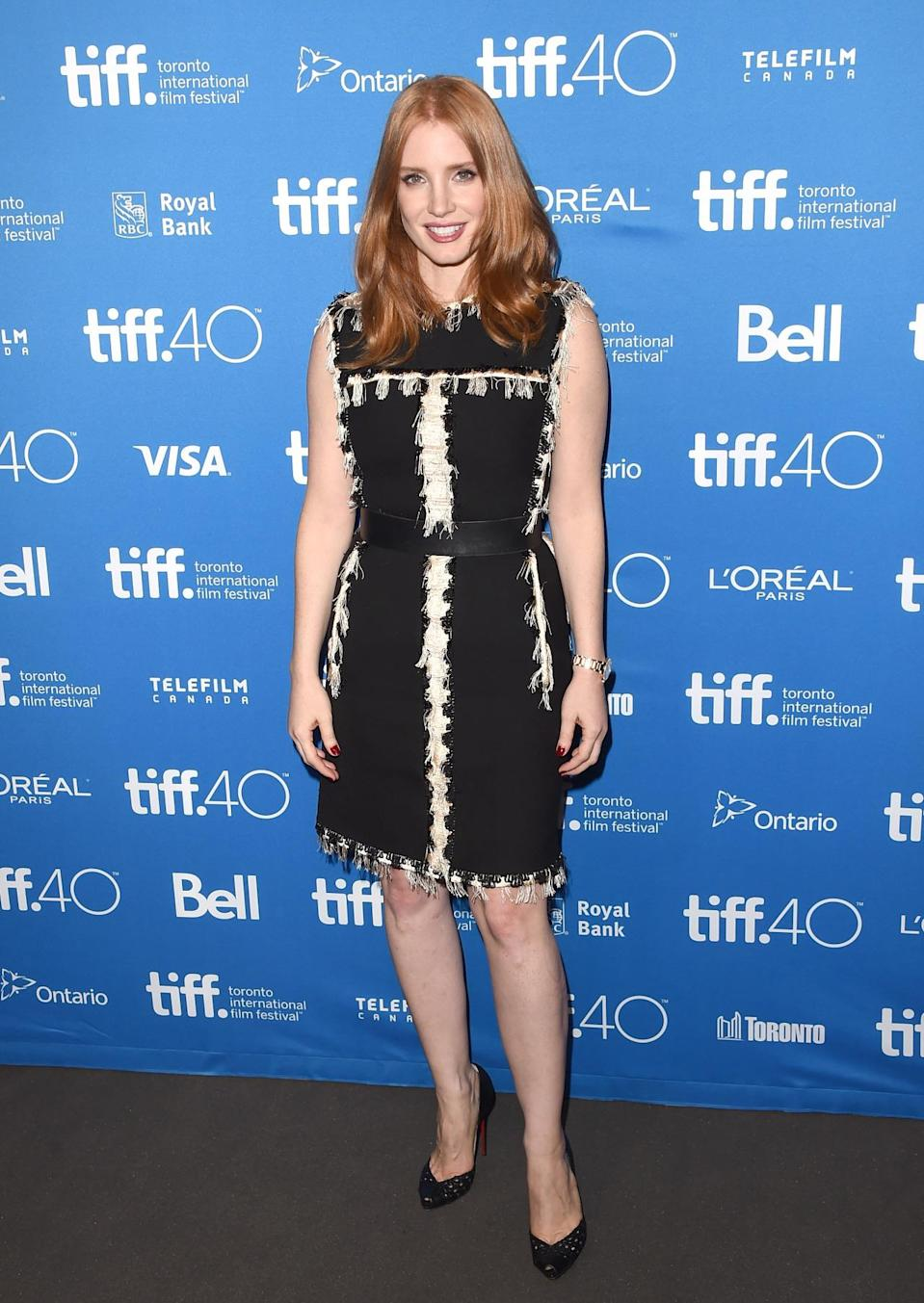 """<p>From day to night, Jessica Chastain was high-end perfection. At a press conference for """"The Martian,"""" the actress wore a Lanvin LBD with beaded strand detailing. </p>"""