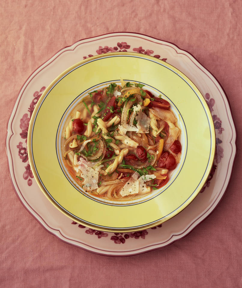 "<p>Homemade Parmesan broth adds more flavor and body to vegetarian soups—like this hearty minestrone—than store-bought vegetable broth or water. Save the Parmesan rinds in the refrigerator or freezer for up to 3 months to make the broth, then freeze the finished broth for up to 2 months. <br /> <br /> <a rel=""nofollow"" href=""http://www.realsimple.com/food-recipes/browse-all-recipes/spring-minestrone-gemelli"">Get the recipe</a>. </p>"