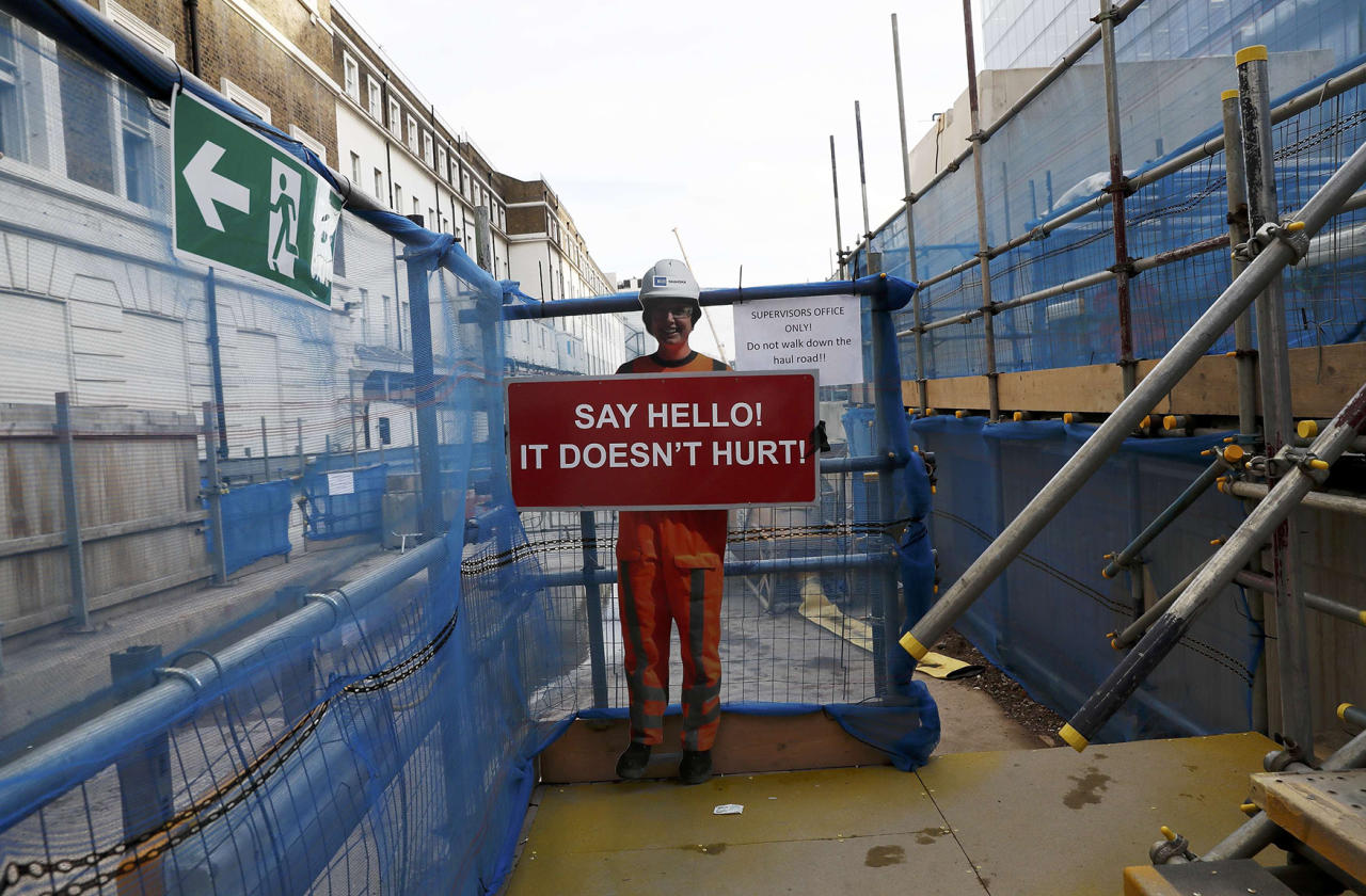 <p>An employee information sign is seen at the construction site for the new Crossrail station in Paddington, in London, Britain, November 16, 2016. Nov. 16, 2016. (Photo: Stefan Wermuth/Reuters) </p>