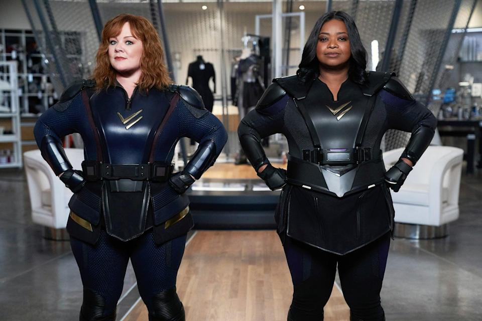 """<ul> <li><strong>What to wear for Lydia: </strong>When <a href=""""https://www.popsugar.com/entertainment/netflix-thunder-force-movie-trailer-video-48197027"""" class=""""link rapid-noclick-resp"""" rel=""""nofollow noopener"""" target=""""_blank"""" data-ylk=""""slk:two best friends acquire superpowers"""">two best friends acquire superpowers</a>, they apparently both get latex suits? To become Lydia, try to wear a shiny, head-to-toe blue latex suit (or something that looks similar!). </li> <li><strong>What to wear for Emily: </strong>While Lydia and Emily practically wear the same thing, Emily's latex suit is black.</li> </ul>"""