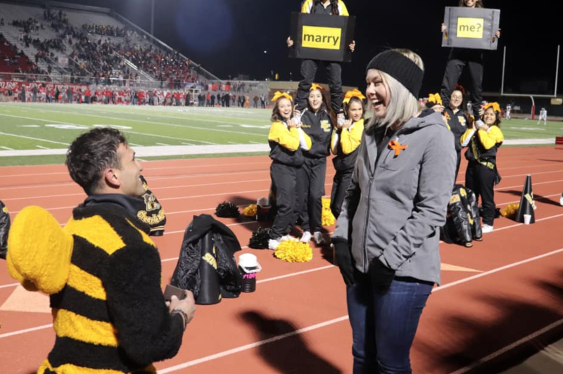 Jorge Gutierrez proposes to East Central High School's cheer coach, Natalie Earthman, with the help of the squad. (Photo: Natalie Earthman)