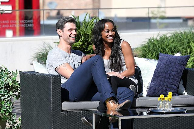 <p>Peter and Rachel Lindsay in ABC's The Bachelorette. <br>(Photo: George Burns/ABC) </p>