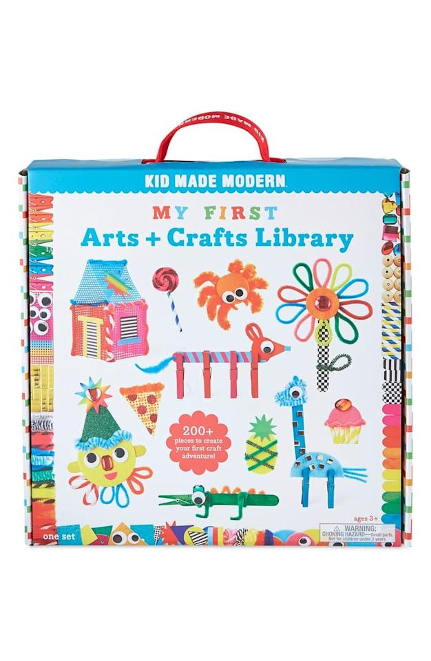 "<p>Get this <a href=""https://www.popsugar.com/buy/Kid-Made-Modern-My-First-Arts-amp-Crafts-Library-517783?p_name=Kid%20Made%20Modern%20My%20First%20Arts%20%26amp%3B%20Crafts%20Library&retailer=shop.nordstrom.com&pid=517783&price=30&evar1=moms%3Aus&evar9=46095735&evar98=https%3A%2F%2Fwww.popsugar.com%2Fphoto-gallery%2F46095735%2Fimage%2F46901794%2FKid-Made-Modern-My-First-Arts-Crafts-Library&list1=shopping%2Ctoys%2Cgift%20guide%2Ckid%20shopping&prop13=api&pdata=1"" rel=""nofollow"" data-shoppable-link=""1"" target=""_blank"" class=""ga-track"" data-ga-category=""Related"" data-ga-label=""https://shop.nordstrom.com/s/kid-made-modern-my-first-arts-crafts-library/5395787/full?origin=category-personalizedsort&amp;breadcrumb=Home%2FHoliday%20Gifts%2FGifts%20for%20Kids&amp;color=multi"" data-ga-action=""In-Line Links"">Kid Made Modern My First Arts &amp; Crafts Library</a> ($30) for the kid who loves art projects. It comes with over 200 pieces of fun tools from yarn to googly eyes.</p>"