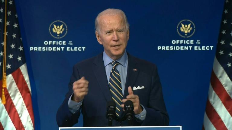 President-elect Joe Biden says that Donald Trump's appointees at the Pentagon are stalling on the transition and warns that the United States faces security risks as a result
