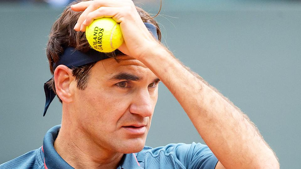 Roger Federer is pictured here during a tennis match in 2021.