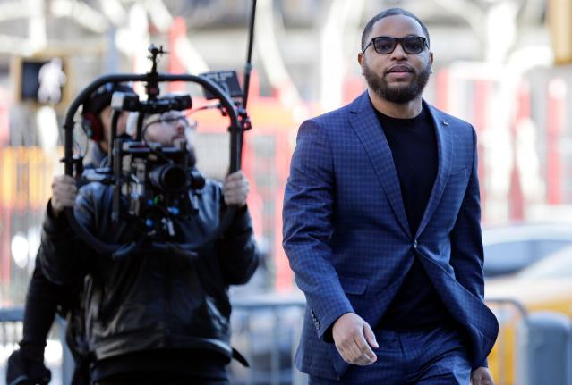 Convicted basketball middleman Christian Dawkins arrives to court in New York on Tuesday, March 5, 2019. (AP)