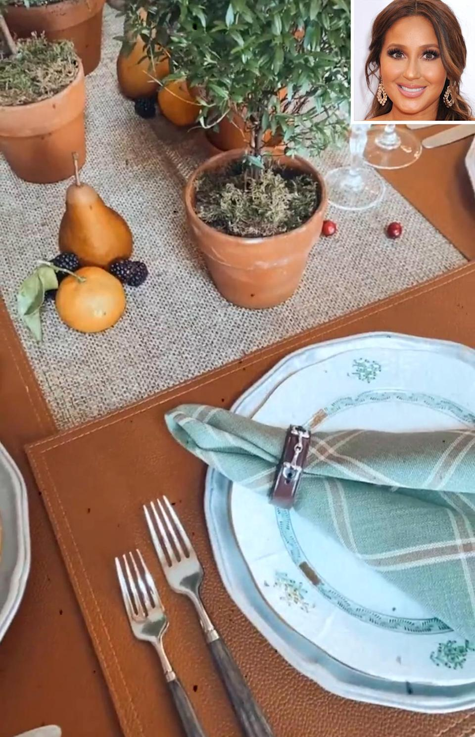 <p>The <i>I Can See Your Voice</i> judge shared a glimpse of her Thanksgiving table settings on her Instagram Story, featuring brown leather placemats, plaid napkins and arranged fruits. </p>