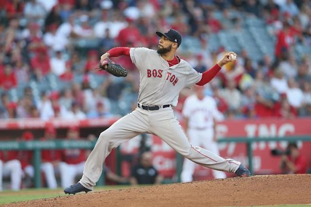 Boston Red Sox pitcher David Price, pictured on July 22, 2017, has been sidelined due to an inflamed elbow, which has been delaying his season start for months (AFP Photo/STEPHEN DUNN)