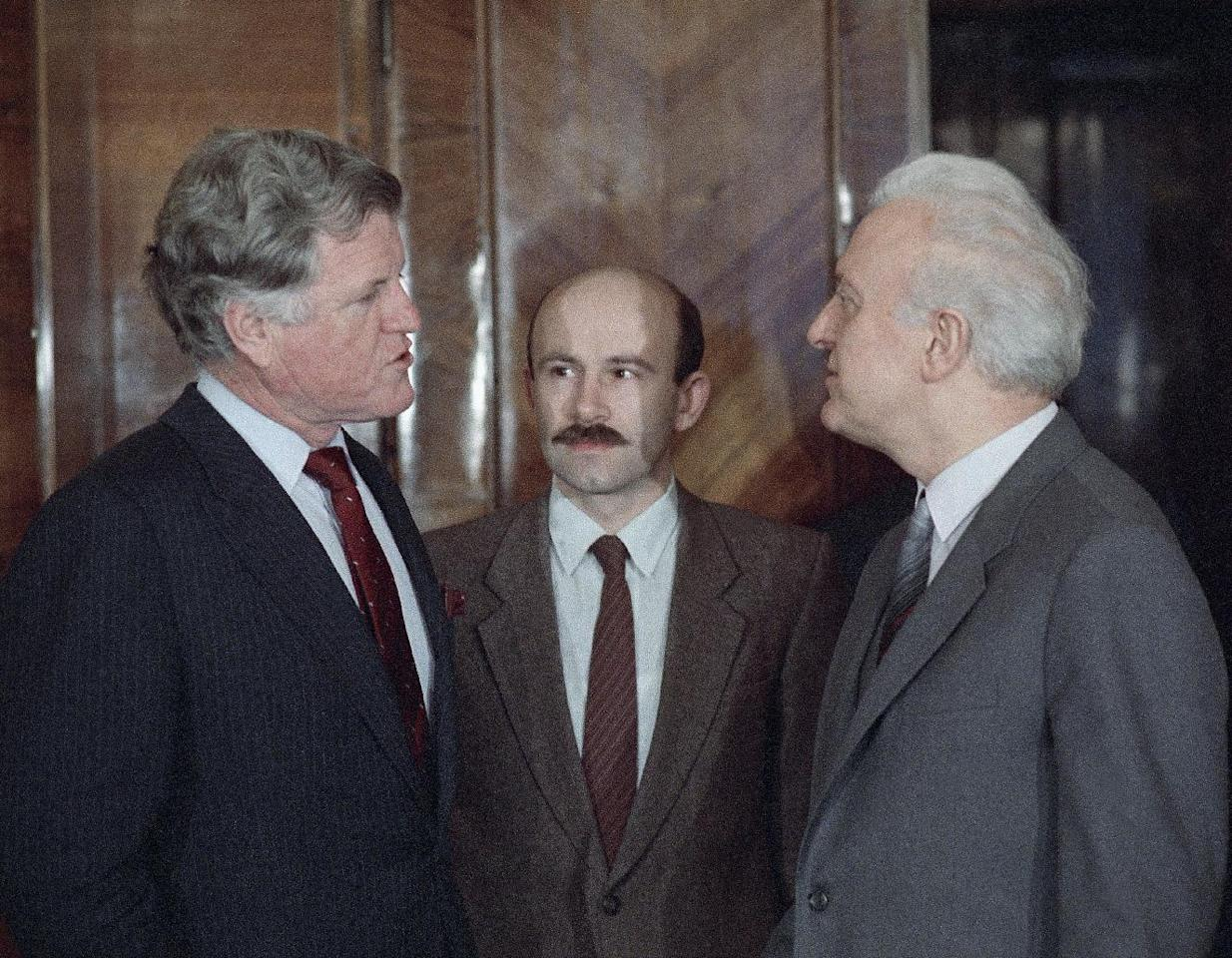 FILE - In this Wednesday, Feb. 5, 1986 file photo, Sen. Edward M. Kennedy (D-Mass.), left, meets with Soviet Foreign Minister Eduard Shevardnadze in Moscow. Eduard Shevardnadze, a groundbreaking Soviet foreign minister and later the president of an independent Georgia, died Monday, July 7, 2014, at the age of 86 after a long illness, his spokeswoman said. (AP Photo/Boris Yurchenko, file)
