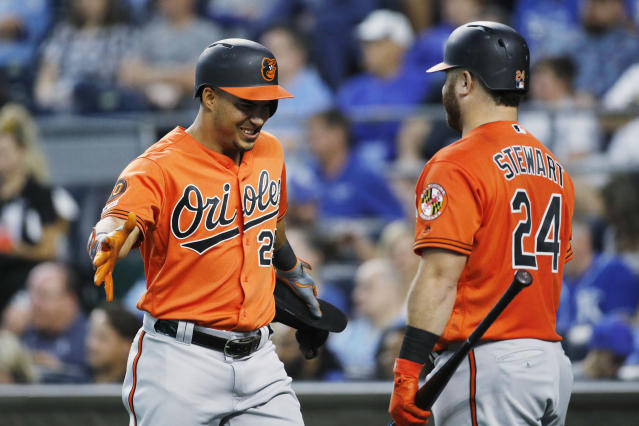 Baltimore Orioles' Anthony Santander (25) celebrates his three-run home run with DJ Stewart (24) in the fourth inning of a baseball game against the Kansas City Royals at Kauffman Stadium in Kansas City, Mo., Saturday, Aug. 31, 2019. (AP Photo/Colin E. Braley)