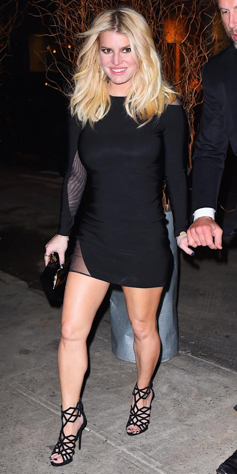 """<p>The style star stepped out for date night in a little black Thierry Mugler dress (shop a similar style <a rel=""""nofollow"""" href=""""https://click.linksynergy.com/fs-bin/click?id=93xLBvPhAeE&subid=0&offerid=483151.1&type=10&tmpid=5462&RD_PARM1=http%253A%252F%252Fwww.neimanmarcus.com%252FThierry-Mugler-Asymmetric-Cutout-Long-Sleeve-Dress-Black-Off-White%252Fprod195300272%252Fp.prod%253FCSRT%253D15473127855805935767&LSNSUBSITE=LSNSUBSITE&u1=ISJessSimpSSBlackDressIJApril"""">here</a>), which she expertly matched with a pair of Giuseppe Zanotti sandals ($444; <a rel=""""nofollow"""" href=""""https://click.linksynergy.com/fs-bin/click?id=93xLBvPhAeE&subid=0&offerid=491149.1&type=10&tmpid=6900&RD_PARM1=https%3A%2F%2Fwww.theoutnet.com%2Fen-US%2FShop%2FProduct%2FGiuseppe-Zanotti%2FRaquel-cutout-suede-sandals%2F640227&u1=ISJessSimpSSSandalsIJApril"""">theoutnet.com</a>). </p>"""
