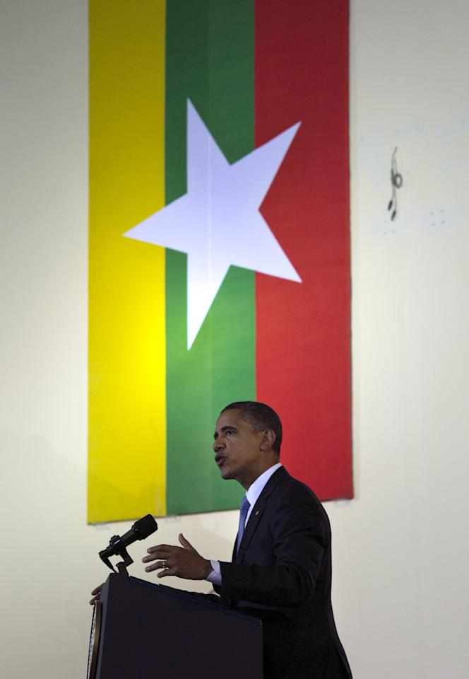 YANGON, MYANMAR - NOVEMBER 19:  US President Barack Obama speaks at the University of Yangon during his historical first visit to the country on November 19, 2012 in Yangon, Myanmar. Obama is the first US President to visit Myanmar while on a four-day tour of Southeast Asia that also includes Thailand and Cambodia. (Photo by Paula Bronstein/Getty Images)