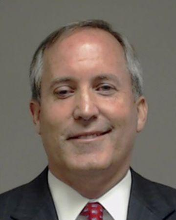 Booking photo of Texas Attorney General Ken Paxton in Collin County near Dallas