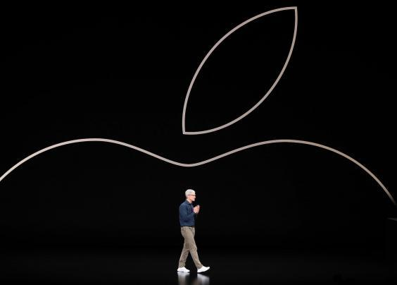 Tim Cook, chief executive officer of Apple, speaks during an Apple event at the Steve Jobs Theater at Apple Park (Justin Sullivan/Getty Images)