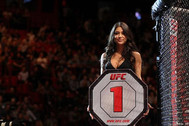 UFC Octagon Girl Arianny Celeste introduces round one before the Stann v Sakara bout at the UFC on Fuel TV event at Ericsson Globe on April 14, 2012 in Stockholm, Sweden.