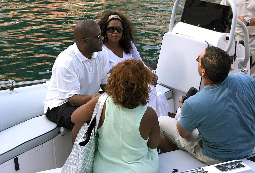 "Oprah Winfrey vacations in Portofino, Italy, with her BFFs Tyler Perry (best known for his Madea character) and Gayle King. Where's Stedman? Kika/<a href=""http://www.x17online.com"" target=""new"">X17 Online</a> - July 5, 2008"