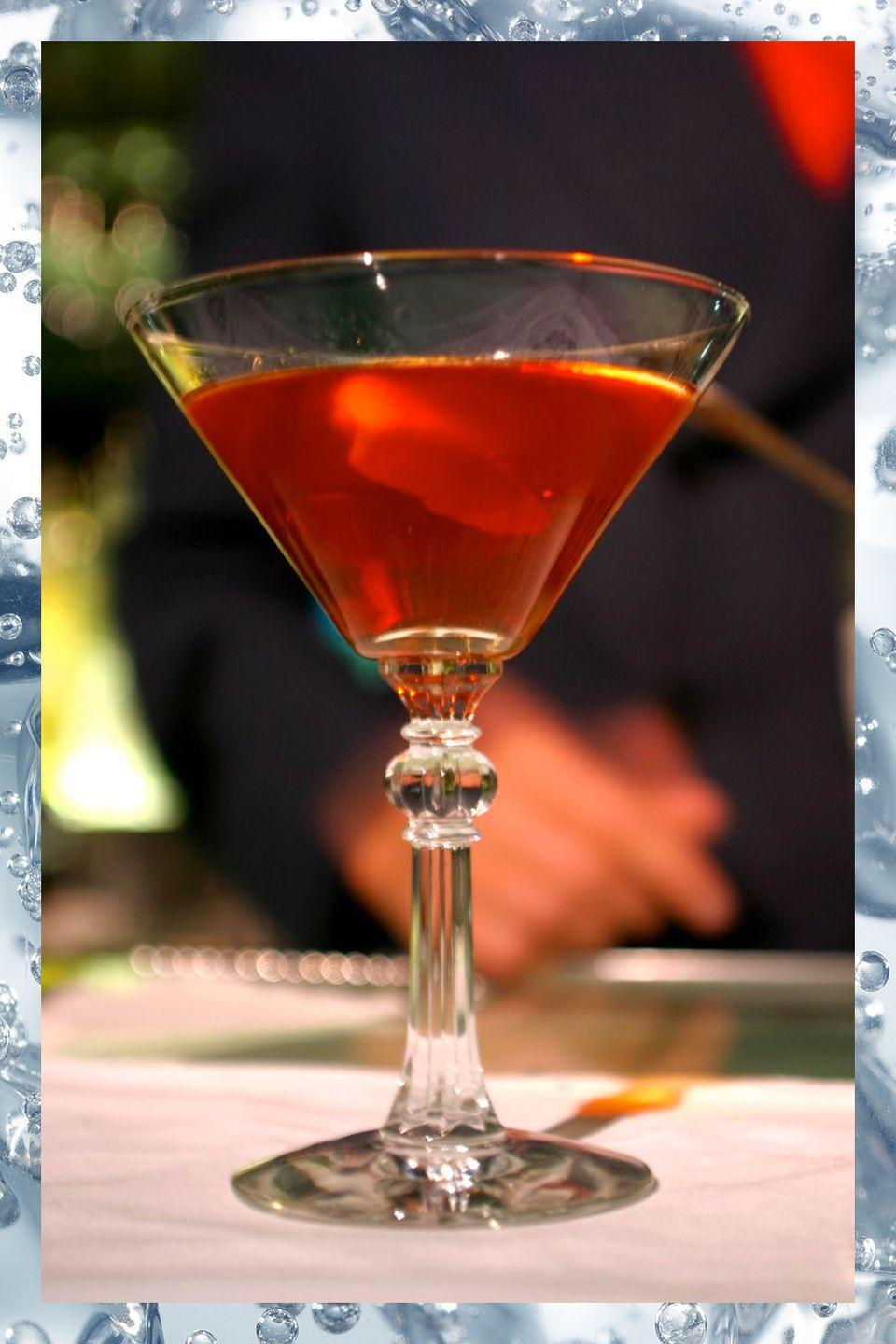 """<p>Not quite a Manhattan and not quite a Martini, the Martinez uses """"Old Tom,"""" a slightly sweeter style of gin that debuted in the mid-1800s. For the authentic taste, ask for it by name.</p><p>- 1.5 oz Old Tom gin<br>- 1.5 oz sweet vermouth<br>- .25 oz Luxardo maraschino liqueur<br>- 2 dashes Angostura or orange bitters</p><p><em>Stir ingredients in a mixing glass with ice. Strain into chilled <a href=""""https://www.amazon.com/Riedel-VINUM-Martini-Glasses-Set/dp/B000W06570/?tag=syn-yahoo-20&ascsubtag=%5Bartid%7C10067.g.13092298%5Bsrc%7Cyahoo-us"""" rel=""""nofollow noopener"""" target=""""_blank"""" data-ylk=""""slk:martini glass"""" class=""""link rapid-noclick-resp"""">martini glass</a> or <a href=""""https://www.amazon.com/Libbey-Perception-Cocktail-Coupe-Glass/dp/B009XD642S?tag=syn-yahoo-20&ascsubtag=%5Bartid%7C10067.g.13092298%5Bsrc%7Cyahoo-us"""" rel=""""nofollow noopener"""" target=""""_blank"""" data-ylk=""""slk:cocktail coupe"""" class=""""link rapid-noclick-resp"""">cocktail coupe</a>.</em><br></p><p><strong>More:</strong> <a href=""""http://www.townandcountrymag.com/leisure/drinks/g2171/gin-cocktail-recipes/"""" rel=""""nofollow noopener"""" target=""""_blank"""" data-ylk=""""slk:Essential Gin Cocktails"""" class=""""link rapid-noclick-resp"""">Essential Gin Cocktails</a><br></p>"""
