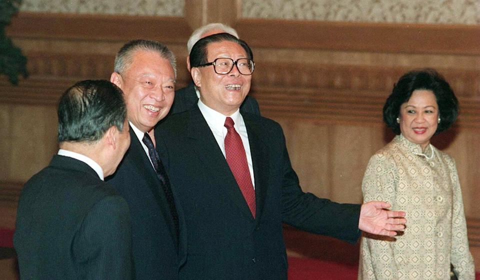 China's then-president Jiang Zemin (second from right) meets Tung Chee-hwa and his wife Betty Tung Chiu Hung-ping at the Great Hall of the People in Beijing in December 1996. Photo: Oliver Tsang