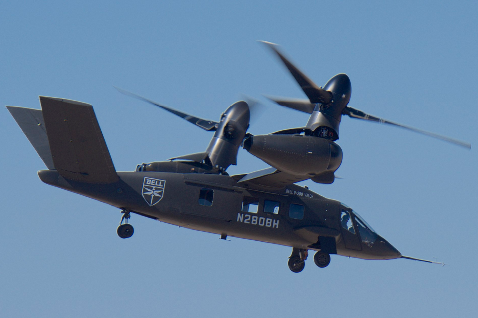 """<p>Designed to replace current Army and Marine Corps helicopters, the Valor boasts a much greater range and top speed <a href=""""https://www.military.com/daily-news/2020/09/16/futuristic-v-280-not-advanced-enough-replace-osprey-afsoc-commander.html"""" rel=""""nofollow noopener"""" target=""""_blank"""" data-ylk=""""slk:than the Sikorsky UH-60 Black Hawk"""" class=""""link rapid-noclick-resp"""">than the Sikorsky UH-60 Black Hawk</a>. The V-280 uses swiveling rotors to switch between hovering vertically (to land and <a href=""""https://www.bellflight.com/products/bell-v-280"""" rel=""""nofollow noopener"""" target=""""_blank"""" data-ylk=""""slk:take off like a helicopter"""" class=""""link rapid-noclick-resp"""">take off like a helicopter</a>) and flying horizontally (to cruise like an airplane). </p>"""