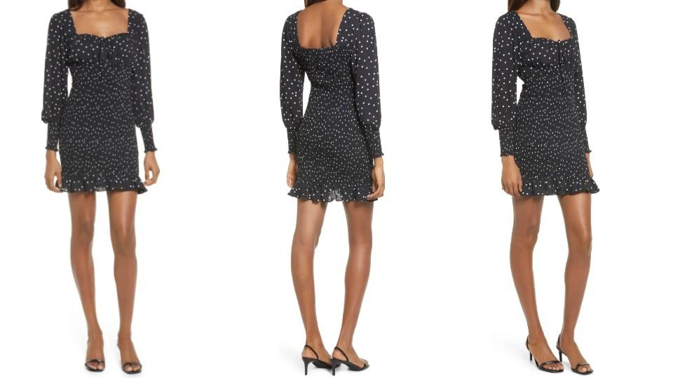 ROW A Polka Dot Smocked Long Sleeve Minidress - Nordstrom, $29 (originally $49)
