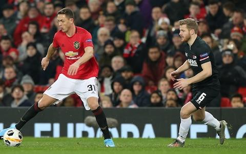 Nemanja Matic of Manchester United in action with Fredrik Midtsjo of AZ Alkmaar during the UEFA Europa League group L match between Manchester United and AZ Alkmaar at Old Trafford on December 12, 2019 in Manchester, United Kingdom - Credit: Manchester United