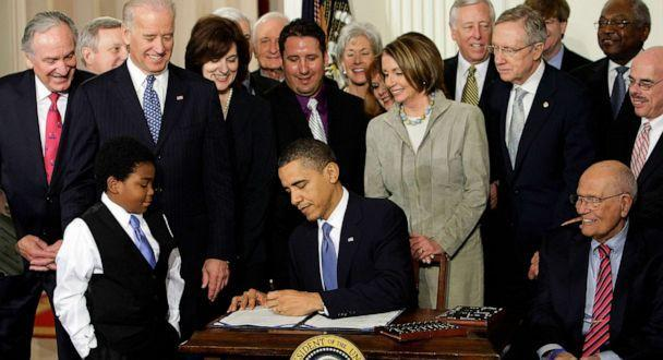 PHOTO: In this March 23, 2010, file photo, President Barack Obama signs the health care bill in the East Room of the White House in Washington, D.C. (J. Scott Applewhite/AP, FILE)