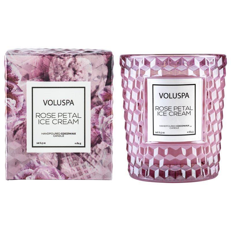 Voluspa Classic Boxed Candle - Rose Petal Ice Cream. Image via Indigo.