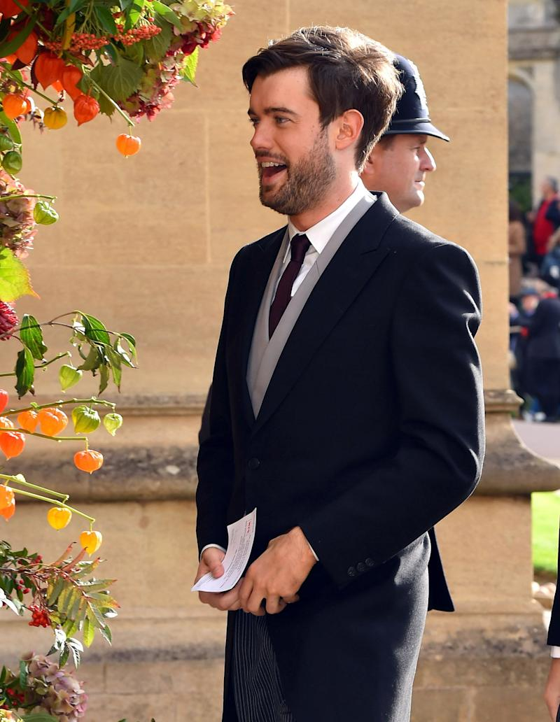 Comedian Jack Whitehall enters the chapel.