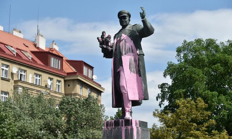 A defaced statue of Soviet field marshal Ivan Konev in Prague in May 2018.