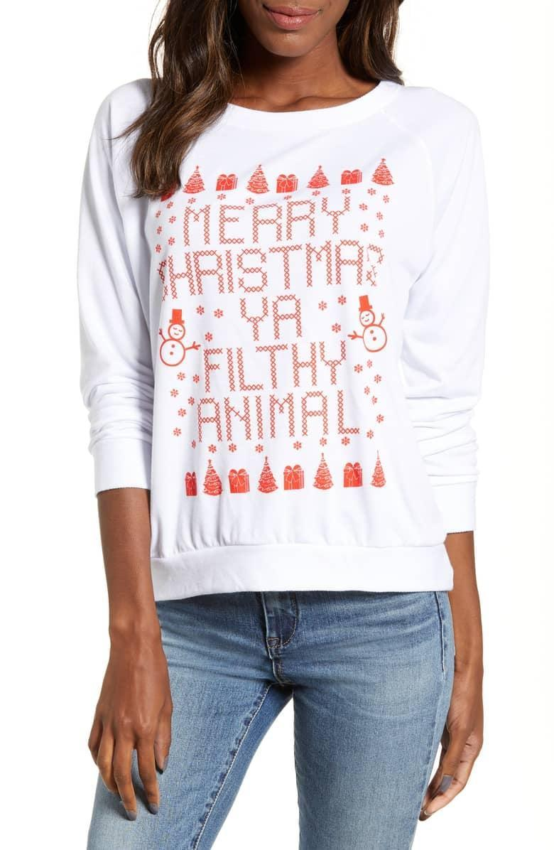 """<p>Kevin McCallister would be proud of this <a rel=""""nofollow noopener"""" href=""""https://www.popsugar.com/buy/Prince%20Peter%20Filthy%20Animal%20Pullover-395442?p_name=Prince%20Peter%20Filthy%20Animal%20Pullover&retailer=shop.nordstrom.com&price=55&evar1=moms%3Aus&evar9=45559600&evar98=https%3A%2F%2Fwww.popsugar.com%2Fmoms%2Fphoto-gallery%2F45559600%2Fimage%2F45559610%2FPrince-Peter-Filthy-Animal-Pullover&list1=shopping%2Csweaters%2Choliday%2Cchristmas%2Cwinter%2Cwinter%20fashion&prop13=desktop&pdata=1"""" target=""""_blank"""" data-ylk=""""slk:Prince Peter Filthy Animal Pullover"""" class=""""link rapid-noclick-resp"""">Prince Peter Filthy Animal Pullover</a> ($55).</p>"""