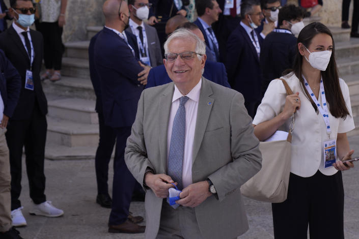 The High Representative of the European Union Josep Borrell arrives in Matera, Italy, for a G20 foreign affairs ministers' meeting Tuesday, June 29, 2021.(AP Photo/Antonio Calanni)