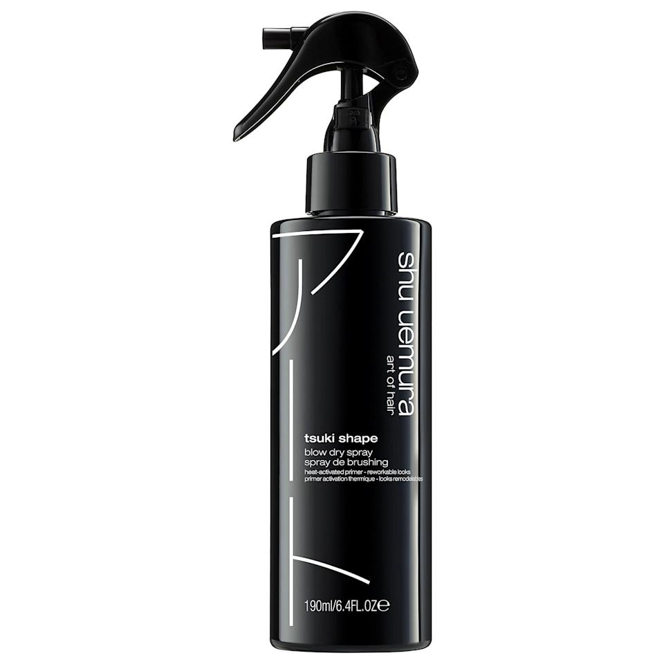 """<p><strong>Shu Uemura</strong></p><p>sephora.com</p><p><strong>$42.00</strong></p><p><a href=""""https://go.redirectingat.com?id=74968X1596630&url=https%3A%2F%2Fwww.sephora.com%2Fproduct%2Fshu-uemura-tsuki-shape-heat-activated-blow-dry-spray-P461986&sref=https%3A%2F%2Fwww.goodhousekeeping.com%2Fbeauty-products%2Fg34620919%2Fbest-heat-protectant-for-hair%2F"""" rel=""""nofollow noopener"""" target=""""_blank"""" data-ylk=""""slk:Shop Now"""" class=""""link rapid-noclick-resp"""">Shop Now</a></p><p>A versatile, lightweight styler with heat protectant properties, Shu Uemura is a GH editor favorite. """"This is really <strong>great for anyone hoping for a blowout with more volume, or if you want <a href=""""https://www.goodhousekeeping.com/beauty/hair/g3050/how-to-curl-your-hair-fast/"""" rel=""""nofollow noopener"""" target=""""_blank"""" data-ylk=""""slk:to use a curling iron"""" class=""""link rapid-noclick-resp"""">to use a curling iron</a>, since it helps define curls and provides a bit of hold </strong>sans feeling crunchy or stiff,"""" says GH beauty assistant Katie <a href=""""https://www.goodhousekeeping.com/author/225434/Katie-Berohn/"""" rel=""""nofollow noopener"""" target=""""_blank"""" data-ylk=""""slk:Katie Berohn"""" class=""""link rapid-noclick-resp"""">Katie Berohn</a>.</p>"""