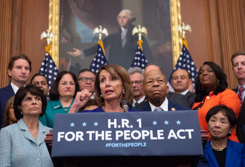 "Speaker of the House Nancy Pelosi (C), Democrat of California, speaks alongside Democratic members of the House about H.R.1, the ""For the People Act,"" at the US Capitol in Washington, DC, January 4, 2019. (Photo: Saul Loeb/AFP/Getty Images)"
