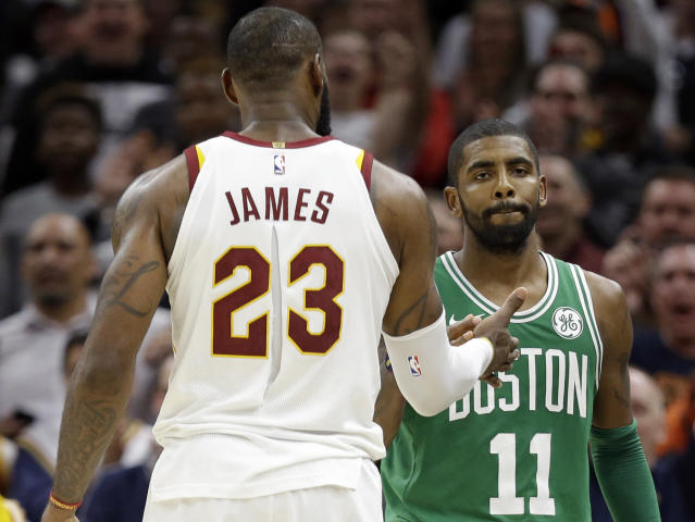 "<a class=""link rapid-noclick-resp"" href=""/nba/players/4840/"" data-ylk=""slk:Kyrie Irving"">Kyrie Irving</a> looks super excited to shake <a class=""link rapid-noclick-resp"" href=""/nba/players/3704/"" data-ylk=""slk:LeBron James"">LeBron James</a>' hand immediately after the Celtics lost to the Cavs on Tuesday. (AP)"